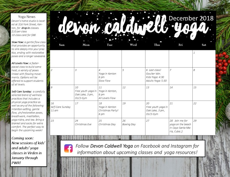 December Yoga Calendar